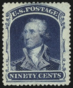 Sale Number 1061, Lot Number 3452, 3c-90c 1857-60 Issue and 1875 Reprint (Scott 25-40)90c Blue (39), 90c Blue (39)