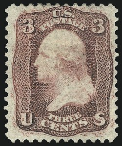 Sale Number 1061, Lot Number 3458, 1861-66 Issue (Scott 56-78)3c Brown Rose, First Design (56), 3c Brown Rose, First Design (56)