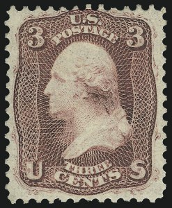 Sale Number 1061, Lot Number 3459, 1861-66 Issue (Scott 56-78)3c Brown Rose, First Design (56), 3c Brown Rose, First Design (56)