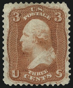 Sale Number 1061, Lot Number 3462, 1861-66 Issue (Scott 56-78)3c Bright Orange Red, First Design (56 var), 3c Bright Orange Red, First Design (56 var)