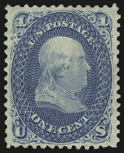 Sale Number 1061, Lot Number 3463, 1861-66 Issue (Scott 56-78)1c Blue (63), 1c Blue (63)