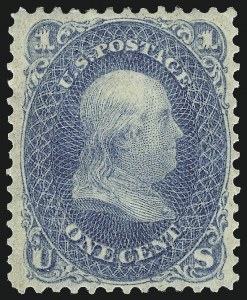 Sale Number 1061, Lot Number 3464, 1861-66 Issue (Scott 56-78)1c Blue (63), 1c Blue (63)