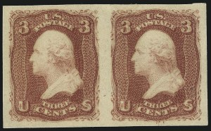 Sale Number 1061, Lot Number 3471, 1861-66 Issue (Scott 56-78)3c Lake, Imperforate (66a). Mint N.H, 3c Lake, Imperforate (66a). Mint N.H