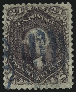 Sale Number 1061, Lot Number 3483, 1861-66 Issue (Scott 56-78)24c Violet, Thin Paper (70c), 24c Violet, Thin Paper (70c)