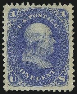 Sale Number 1061, Lot Number 3519, 1875 Re-Issue of 1861-66 Issue (Scott 102-106)1c Blue, Re-Issue (102), 1c Blue, Re-Issue (102)
