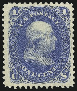 Sale Number 1061, Lot Number 3520, 1875 Re-Issue of 1861-66 Issue (Scott 102-106)1c Blue, Re-Issue (102), 1c Blue, Re-Issue (102)