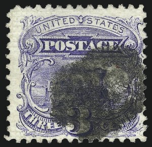 Sale Number 1061, Lot Number 3535, 1869 Pictorial Issue (Scott 112-122a)3c Ultramarine, Triple Split Grill (114 var), 3c Ultramarine, Triple Split Grill (114 var)
