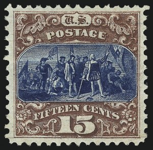 Sale Number 1061, Lot Number 3564, 1875 Re-Issue of 1869 Pictorial Issue (Scott 123-132)15c Brown & Blue, Re-Issue (129), 15c Brown & Blue, Re-Issue (129)