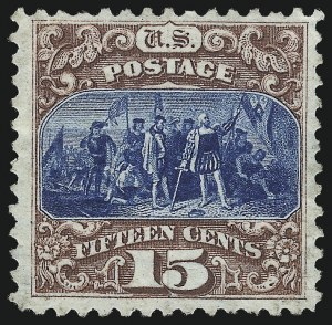 Sale Number 1061, Lot Number 3565, 1875 Re-Issue of 1869 Pictorial Issue (Scott 123-132)15c Brown & Blue, Re-Issue (129), 15c Brown & Blue, Re-Issue (129)