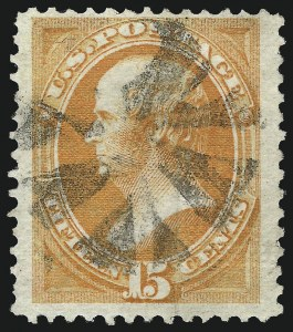 Sale Number 1061, Lot Number 3589, 1870-71 National Bank Note Co. Issues (Scott 134-153)15c Orange, I. Grill (141A), 15c Orange, I. Grill (141A)