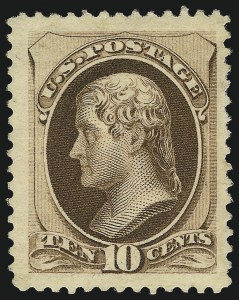 Sale Number 1061, Lot Number 3622, 1879-88 American Bank Note Co. Issue (Scott 182-218)10c Brown, With Secret Mark (188), 10c Brown, With Secret Mark (188)