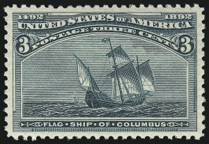 Sale Number 1061, Lot Number 3666, 1c-30c 1893 Columbian Issue (Scott 230-239)3c Columbian (232), 3c Columbian (232)