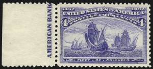 Sale Number 1061, Lot Number 3672, 1c-30c 1893 Columbian Issue (Scott 230-239)4c Columbian (233), 4c Columbian (233)