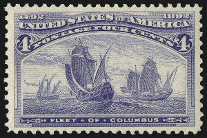 Sale Number 1061, Lot Number 3673, 1c-30c 1893 Columbian Issue (Scott 230-239)4c Columbian (233), 4c Columbian (233)