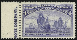 Sale Number 1061, Lot Number 3675, 1c-30c 1893 Columbian Issue (Scott 230-239)4c Columbian (233), 4c Columbian (233)