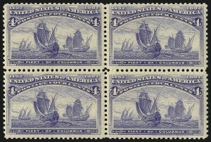 Sale Number 1061, Lot Number 3677, 1c-30c 1893 Columbian Issue (Scott 230-239)4c Columbian (233), 4c Columbian (233)