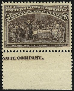 Sale Number 1061, Lot Number 3681, 1c-30c 1893 Columbian Issue (Scott 230-239)5c Columbian (234), 5c Columbian (234)