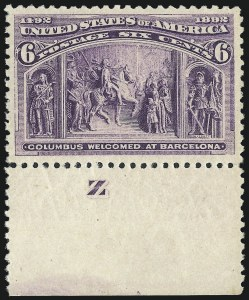 Sale Number 1061, Lot Number 3683, 1c-30c 1893 Columbian Issue (Scott 230-239)6c Columbian (235), 6c Columbian (235)