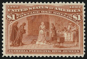Sale Number 1061, Lot Number 3709, 50c-$5.00 1893 Columbian Issue (Scott 240-245)$1.00 Columbian (241), $1.00 Columbian (241)