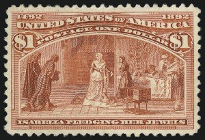 Sale Number 1061, Lot Number 3711, 50c-$5.00 1893 Columbian Issue (Scott 240-245)$1.00 Columbian (241), $1.00 Columbian (241)