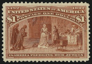 Sale Number 1061, Lot Number 3714, 50c-$5.00 1893 Columbian Issue (Scott 240-245)$1.00 Columbian (241), $1.00 Columbian (241)