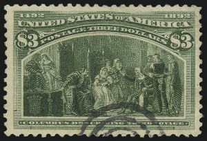 Sale Number 1061, Lot Number 3726, 50c-$5.00 1893 Columbian Issue (Scott 240-245)$3.00 Columbian (243), $3.00 Columbian (243)