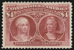 Sale Number 1061, Lot Number 3728, 50c-$5.00 1893 Columbian Issue (Scott 240-245)$4.00 Columbian (244), $4.00 Columbian (244)