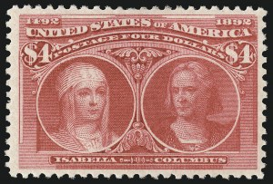Sale Number 1061, Lot Number 3729, 50c-$5.00 1893 Columbian Issue (Scott 240-245)$4.00 Columbian (244), $4.00 Columbian (244)