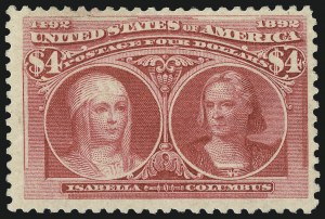 Sale Number 1061, Lot Number 3730, 50c-$5.00 1893 Columbian Issue (Scott 240-245)$4.00 Columbian (244), $4.00 Columbian (244)