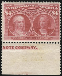 Sale Number 1061, Lot Number 3731, 50c-$5.00 1893 Columbian Issue (Scott 240-245)$4.00 Columbian (244), $4.00 Columbian (244)