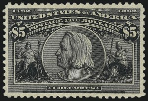 Sale Number 1061, Lot Number 3733, 50c-$5.00 1893 Columbian Issue (Scott 240-245)$5.00 Columbian (245), $5.00 Columbian (245)