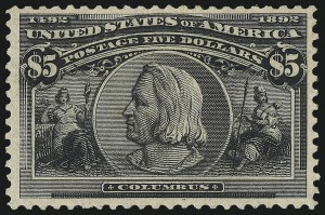 Sale Number 1061, Lot Number 3734, 50c-$5.00 1893 Columbian Issue (Scott 240-245)$5.00 Columbian (245), $5.00 Columbian (245)
