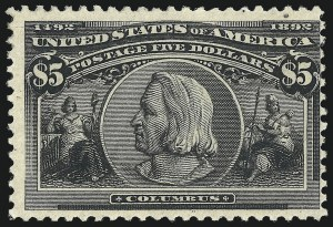 Sale Number 1061, Lot Number 3735, 50c-$5.00 1893 Columbian Issue (Scott 240-245)$5.00 Columbian (245), $5.00 Columbian (245)