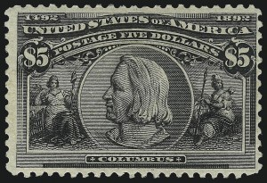 Sale Number 1061, Lot Number 3737, 50c-$5.00 1893 Columbian Issue (Scott 240-245)$5.00 Columbian (245), $5.00 Columbian (245)