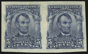 Sale Number 1061, Lot Number 3835, 1902-08 Issues, 1904 and 1907 Commemoratives (Scott 300-330)5c Blue, Imperforate (315), 5c Blue, Imperforate (315)