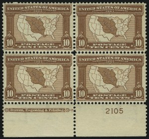 Sale Number 1061, Lot Number 3848, 1902-08 Issues, 1904 and 1907 Commemoratives (Scott 300-330)10c Louisiana Purchase (327), 10c Louisiana Purchase (327)