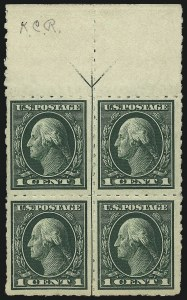 "Sale Number 1061, Lot Number 3900, 1912-14 Washington-Franklin Issue (Scott 407-459)1c Green, 2c Carmine, Imperforate, ""Kansas City"" Roulettes (408-409 vars.), 1c Green, 2c Carmine, Imperforate, ""Kansas City"" Roulettes (408-409 vars.)"