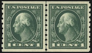 Sale Number 1061, Lot Number 3902, 1912-14 Washington-Franklin Issue (Scott 407-459)1c Green, Coil (412), 1c Green, Coil (412)