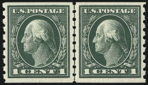 Sale Number 1061, Lot Number 3903, 1912-14 Washington-Franklin Issue (Scott 407-459)1c Green, Coil (412), 1c Green, Coil (412)