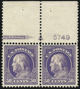 Sale Number 1061, Lot Number 3908, 1912-14 Washington-Franklin Issue (Scott 407-459)50c Violet (422), 50c Violet (422)