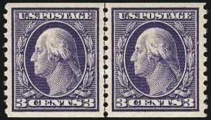 Sale Number 1061, Lot Number 3917, 1912-14 Washington-Franklin Issue (Scott 407-459)3c Violet, Coil (445), 3c Violet, Coil (445)