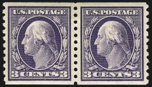 Sale Number 1061, Lot Number 3918, 1912-14 Washington-Franklin Issue (Scott 407-459)3c Violet, Coil (445), 3c Violet, Coil (445)