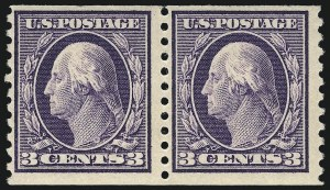 Sale Number 1061, Lot Number 3919, 1912-14 Washington-Franklin Issue (Scott 407-459)3c Violet, Coil (445), 3c Violet, Coil (445)