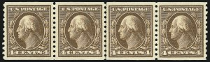 Sale Number 1061, Lot Number 3920, 1912-14 Washington-Franklin Issue (Scott 407-459)4c Brown, Coil (446), 4c Brown, Coil (446)