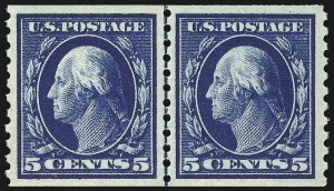 Sale Number 1061, Lot Number 3922, 1912-14 Washington-Franklin Issue (Scott 407-459)5c Blue, Coil (447), 5c Blue, Coil (447)