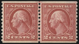 Sale Number 1061, Lot Number 3926, 1912-14 Washington-Franklin Issue (Scott 407-459)2c Carmine Rose, Ty. I, Coil (453), 2c Carmine Rose, Ty. I, Coil (453)