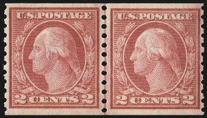 Sale Number 1061, Lot Number 3928, 1912-14 Washington-Franklin Issue (Scott 407-459)2c Red, Ty. II, Coil (454), 2c Red, Ty. II, Coil (454)