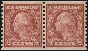 Sale Number 1061, Lot Number 3929, 1912-14 Washington-Franklin Issue (Scott 407-459)2c Red, Ty. II, Coil (454), 2c Red, Ty. II, Coil (454)