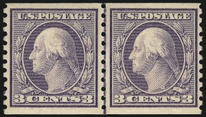 Sale Number 1061, Lot Number 3931, 1912-14 Washington-Franklin Issue (Scott 407-459)3c Violet, Coil (456), 3c Violet, Coil (456)