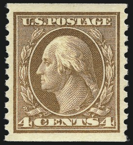 Sale Number 1061, Lot Number 3934, 1912-14 Washington-Franklin Issue (Scott 407-459)4c Brown, Coil (457), 4c Brown, Coil (457)